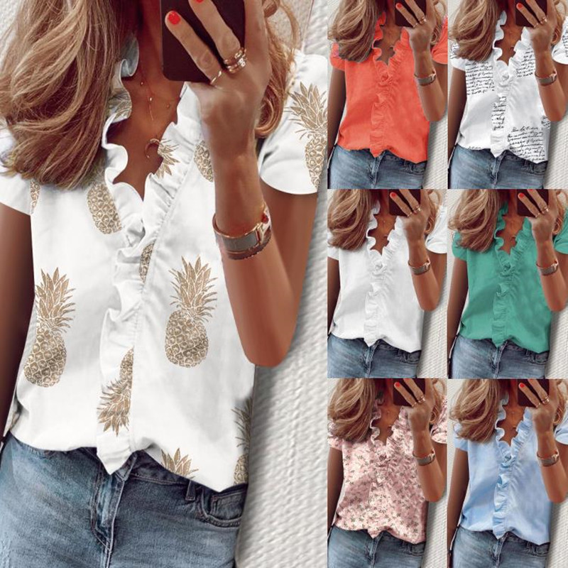 Leosoxs Summer Sexy Deep V Neck Short Sleeve Women's Blouses Shirt Fashion Ruffles Chiffon Ladies Pullover Tops Shirts Plus Size