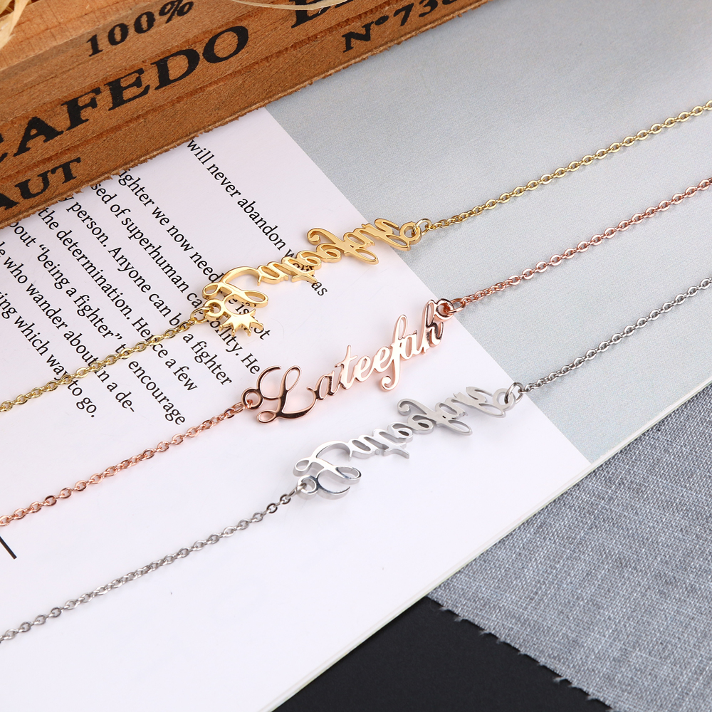 Lateefah Personalized Custom Name Women Anklet Bracelet Foot Jewelry Stainless Steel Handmade Letter Chain Anklets Birthday Gift in Anklets from Jewelry Accessories