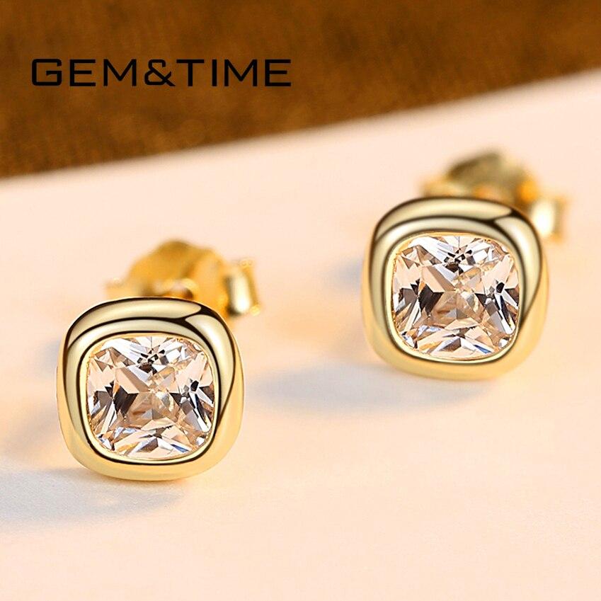 Gem&Time Minimalist 925 Sterling Silver Square Cubic Zirconia Stud Earrings For Women Pure Silver 925 Earrings Jewelry SE0478