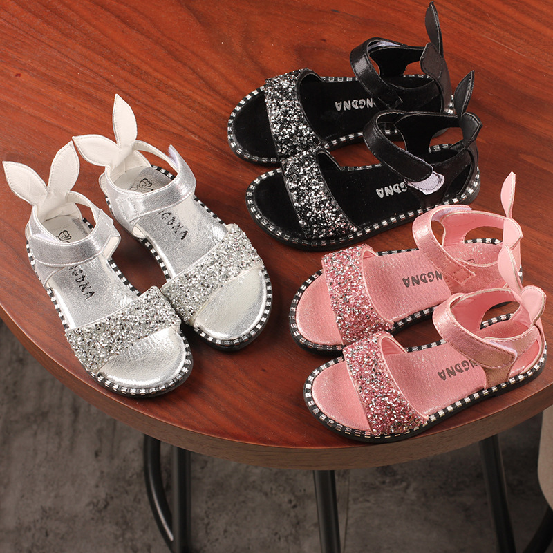 Girls Sandals Spring New Girls Fashion Bright Diamonds Bunny Sandals Wild Classic Non-slip Shoes