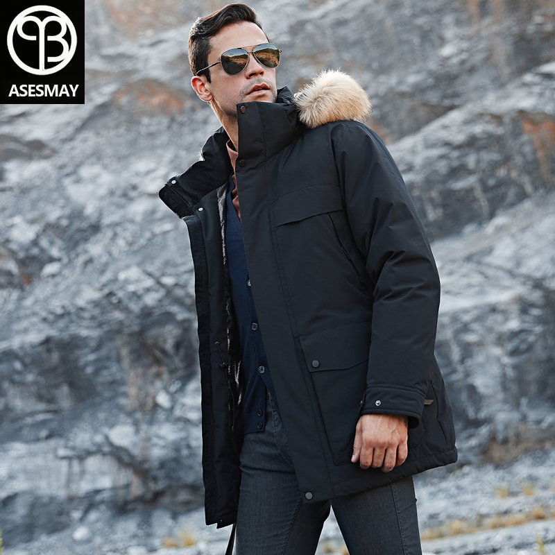 Asesmay Brand Clothing 2019 Men Down Jacket Men's Winter Coat Fur Hooded Parka Thicken Warm Tracksuit Joggers White Outerwear