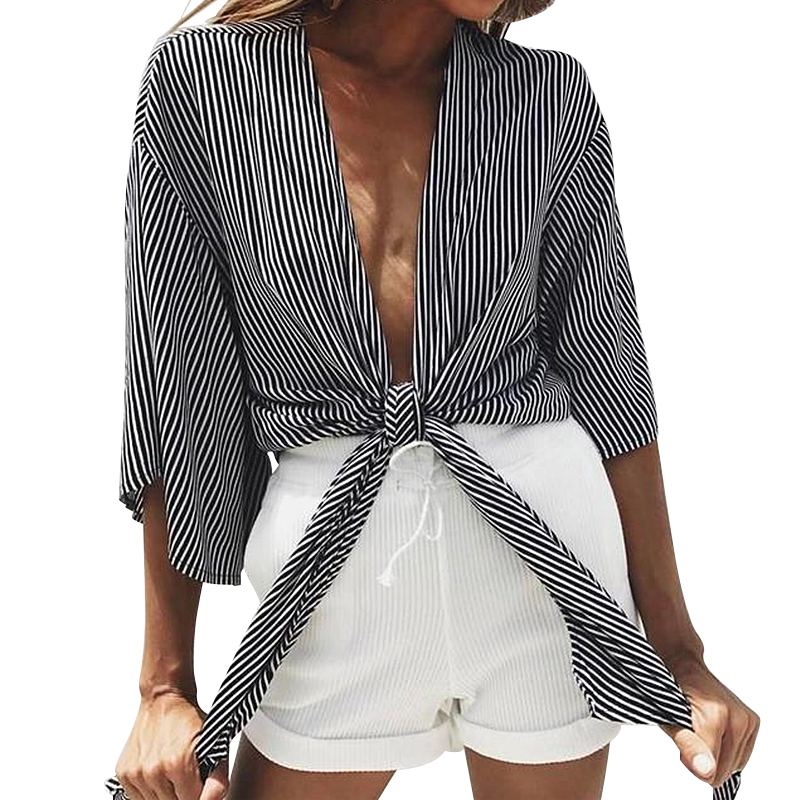 2019 Sexy Women Tops and Blouse Women Long Sleeve Striped V-neck Tie Cardigan Short Jacket Women Ladies Blouse Chemisier Femme