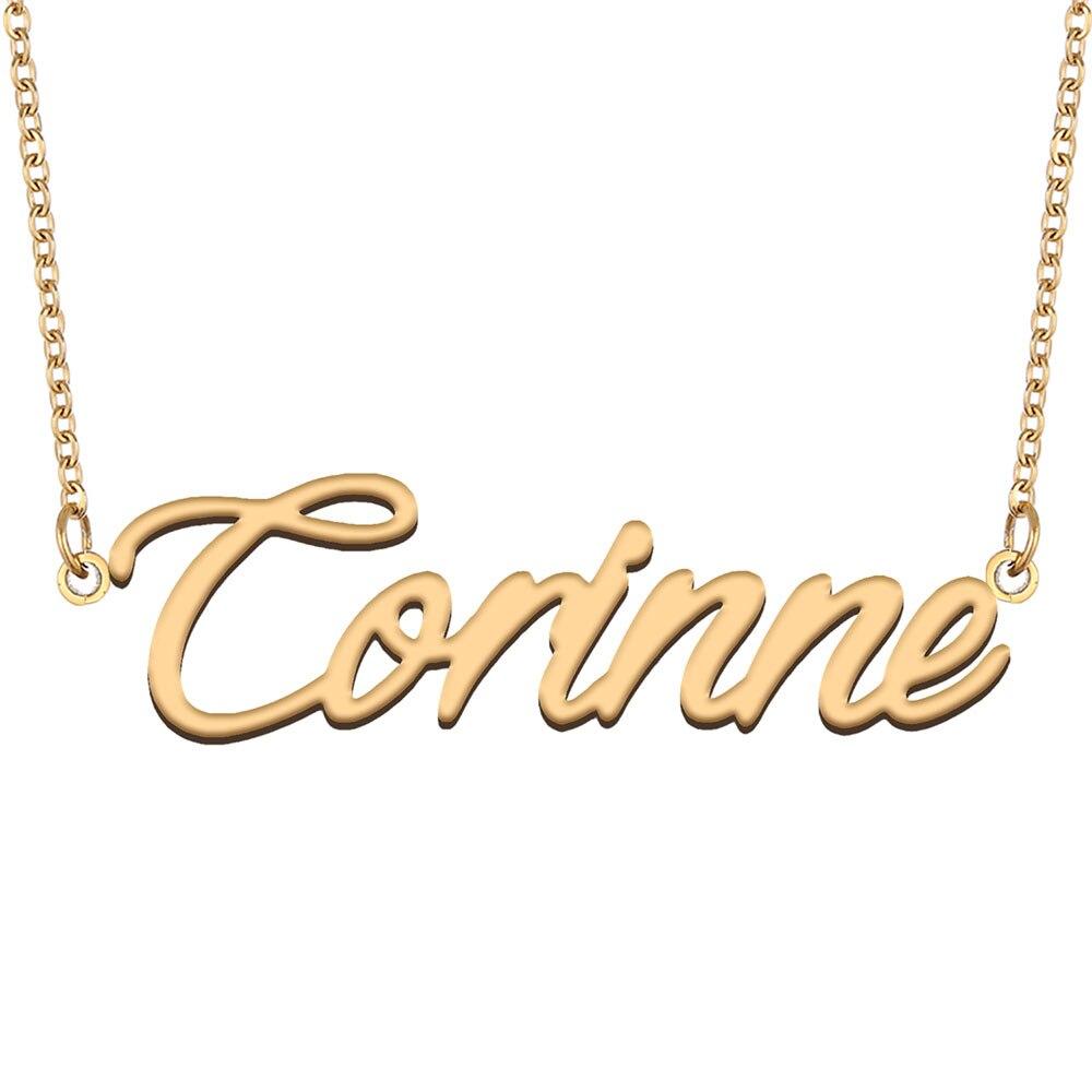 Корин имя ожерелье для женщин из нержавеющей стали ювелирные изделия нержавеющей стали 18k позолоченный кулон-табличка с именем Femme мать под...