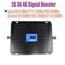 ZQTMAX 2G 3G 4G mobilny wzmacniacz sygnału 900 1800 2100 tri band wzmacniacz sygnału 75dB LTE UMTS GSM DCS WCDMA Repeater