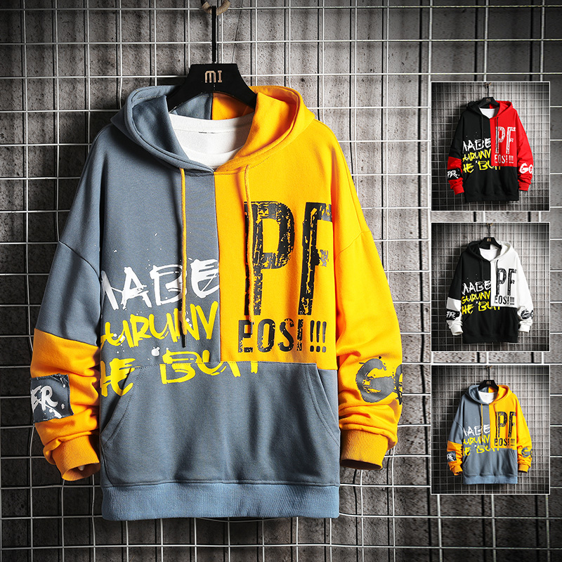 Hoodies Men Hooded Plus Size Color Block Sweatshirts Mens Patchwork Korean Style  Trendy Students Pullovers