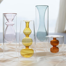 INS Nordic Home Decor Living Room Table Decoration Flower Decoration with Vase Minimalist Gifts Creative Glass Vase Transparent