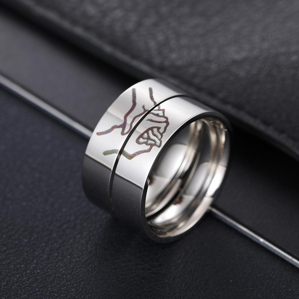2020 Fashion Lettering Stainless Steel Ring Silver Color Romatic Design Heart  Wedding Couple Valentine's Day Anniversary Gift