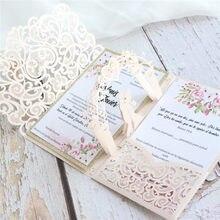Convites de casamento casamento corte a laser convidar cartão titular glitter ouro fronteira inserção personalizada impressão multi cores