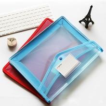 2PCS A4 Size Transparent Clear PP File Document Bag Files Folder with Card Slot for Office School Home Teachers Random Color