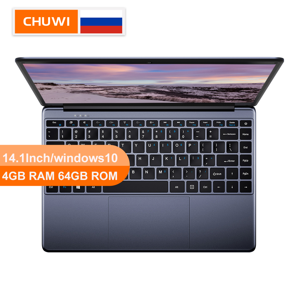 CHUWI HeroBook 14.1 Inch  Windows 10 Laptop Intel E8000 Quad Core Borderless Keyboard 4GB RAM 64GB ROM Laptop