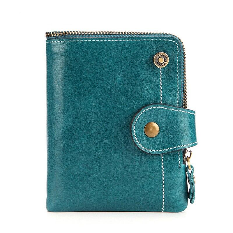 RFID Women's Wallet Leather Short Wallet Women's Oil Wax Cowhide Pocket Girl Zipper Purse Leather Purse