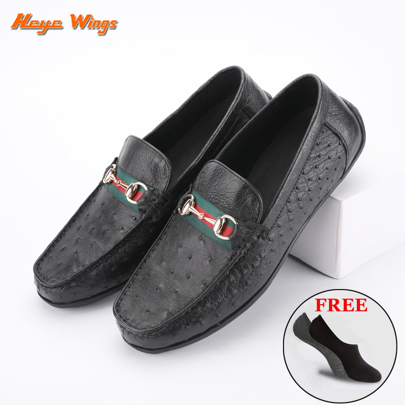 Light Luxury Ostrich Loafers Men's Beanie Shoes High Quality Leather