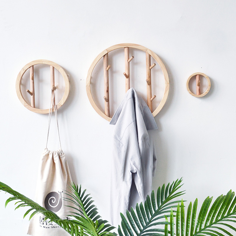 Wood Wall Hooks Decorative Clothes Hanging Hook Crochet Nordic Wooden Cloth Holder Organizer Hangers For Home Hotel Dorm Decor