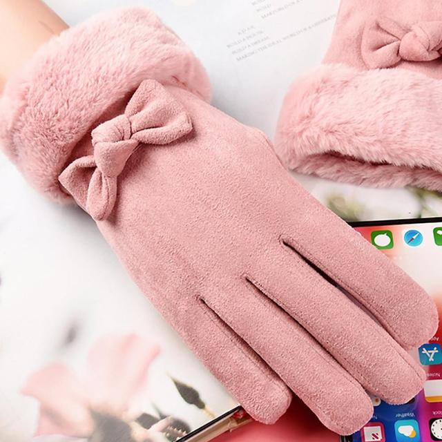 Gloves Female Autumn And Winter Warm Gloves Thick Velvet Touch Screen Bike Gloves Suede Cute Bow Gloves 6
