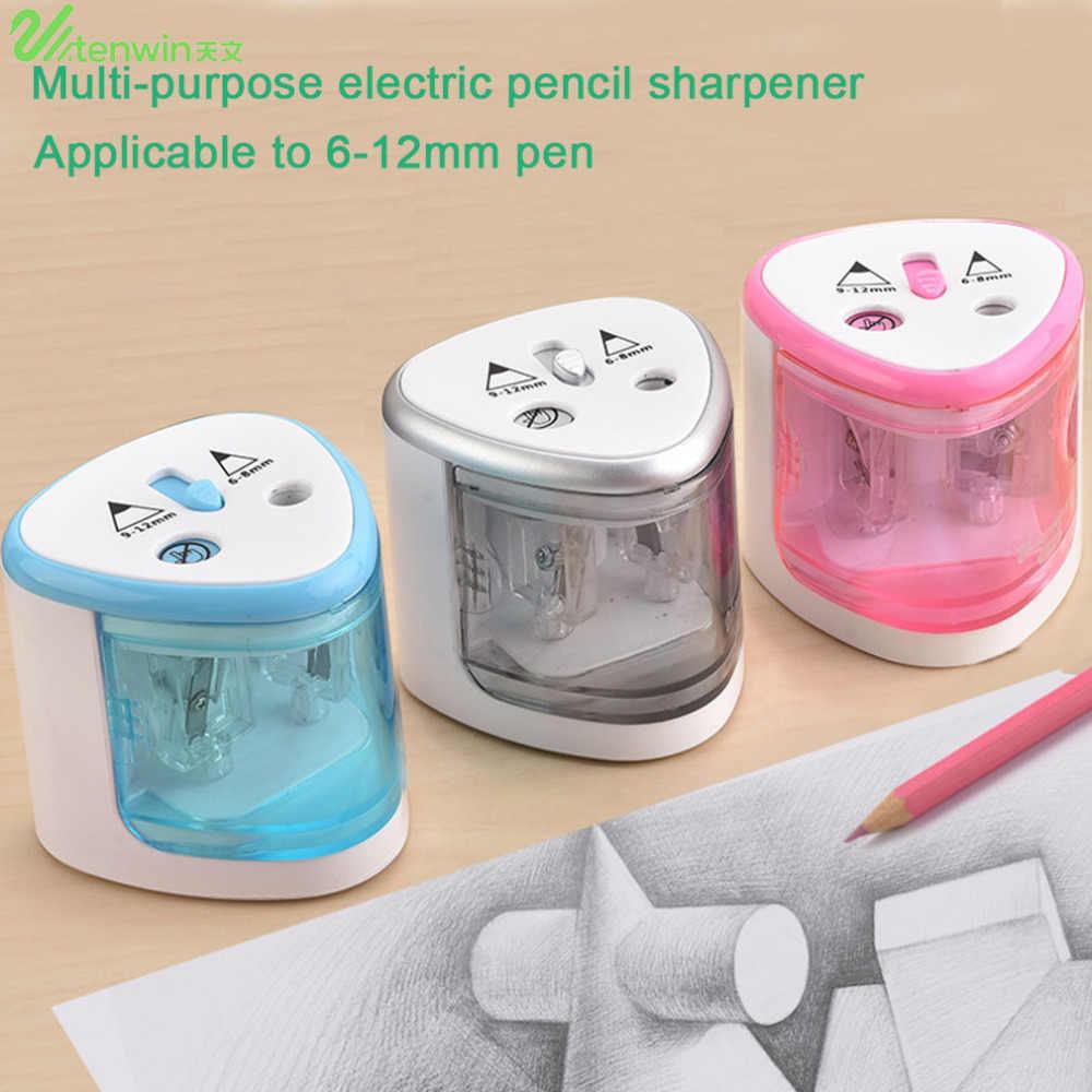 TENWIN 3 色 2 ダブル穴 Sacapuntas 自動電動鉛筆削り Office のデスクトップ学生用品