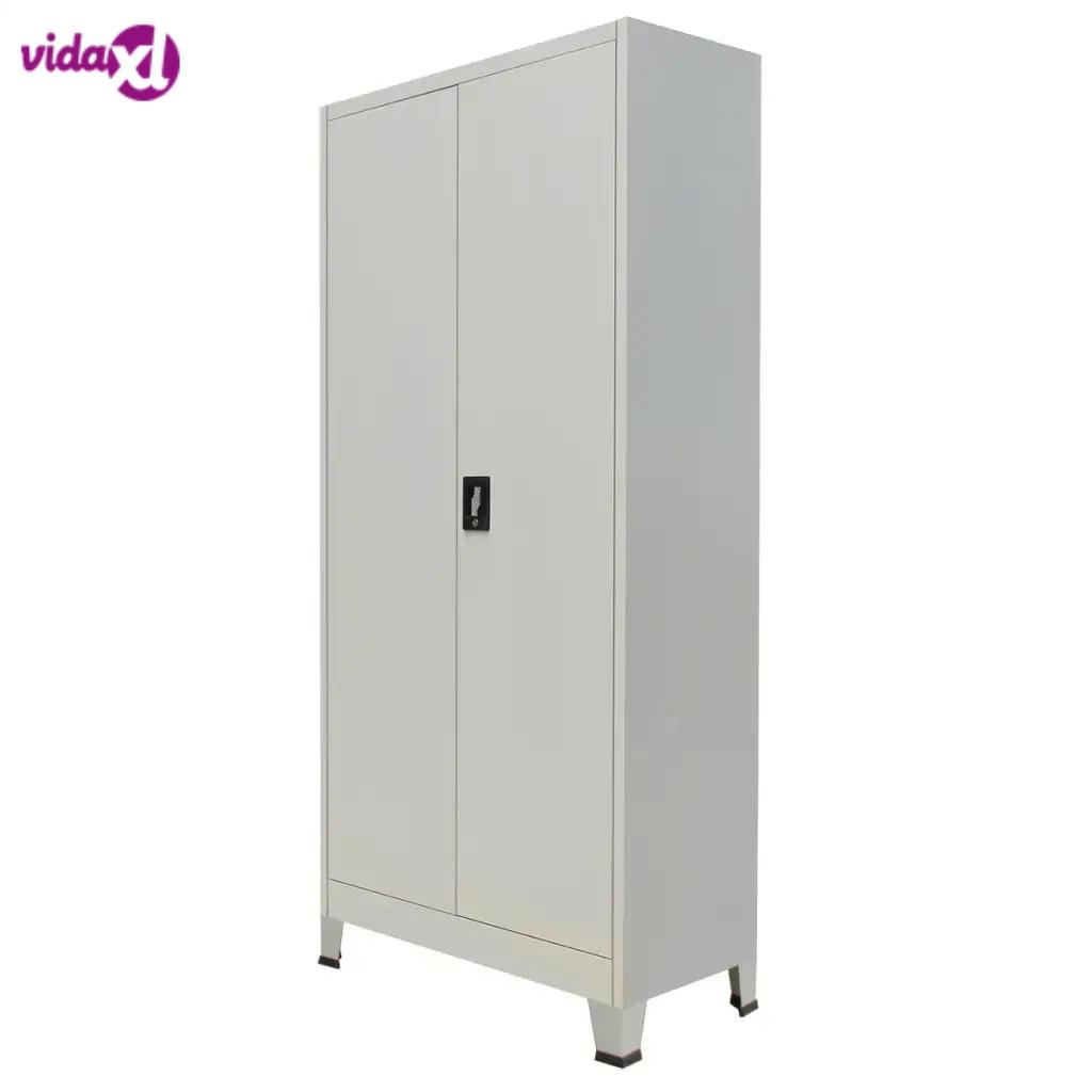 VidaXL Gray Typical Office Filing Cabinet With 2 Doors Durable Steel High-Quality Steel Material Office Cabinet 90x40x180 Cm