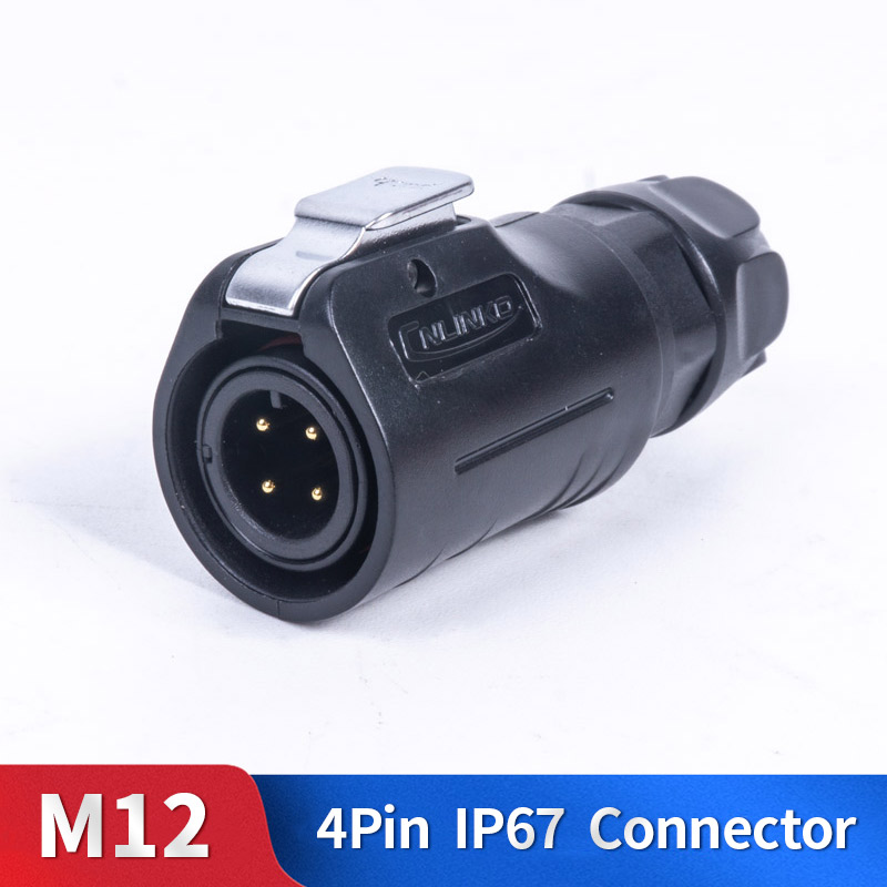 <font><b>M12</b></font> <font><b>4</b></font> <font><b>Pin</b></font> Waterproof <font><b>Connector</b></font> Kit Plastic Shell Male and Female Industrial Outdoor Lighting Cable Plug and Socket image