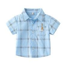 Boys Shirts Summer Cotton Shirts Tops Toddler Shirts short Sleeve Plaid Shirt For Kids Children Clothes