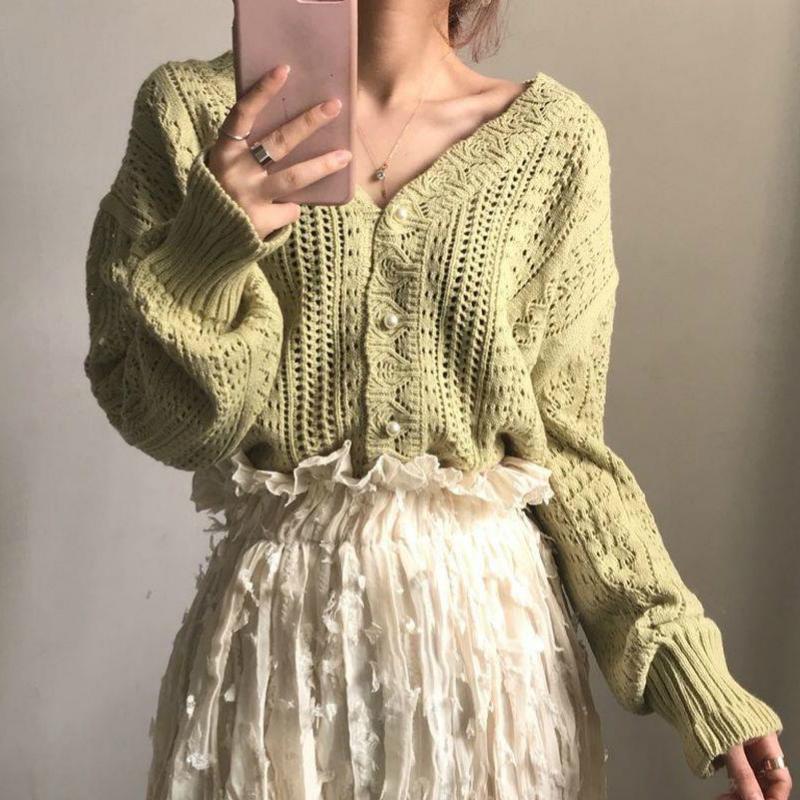 Cropped Cardigan Women Spring Chic Hollow Out Elegant V Neck Korean Vintage Femme Jumper White Sweet Girls Pearls Lady Knitwear