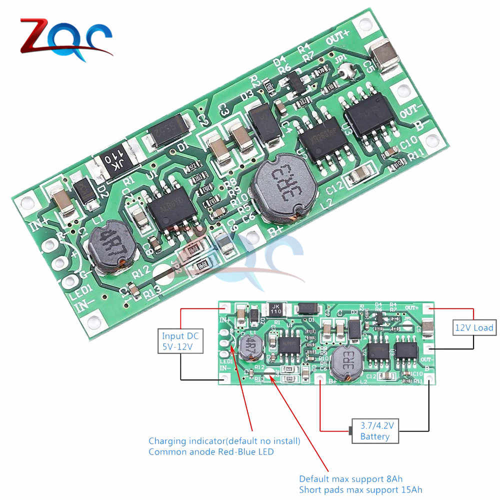 DC 5 V-12 V à 9V 12V Charge Module de suralimentation pour 18650 batterie au Lithium augmente la Protection de tension convertisseur Charge décharge