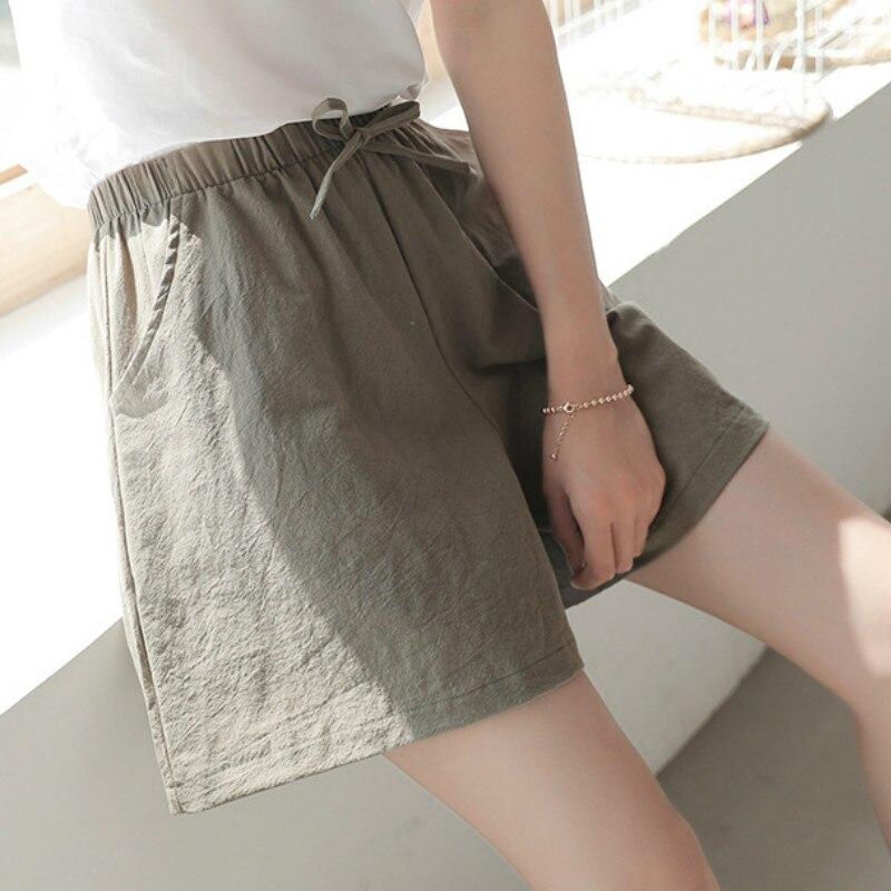 Summer Pants Capris New Loose Linen Large Size Student Sport Casual Short Pants Women Wide Leg Pants Cotton Solid Color Clothes