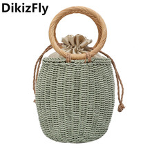 DikizFly Summer Beach Bags Woven Handbags Women Straw Bag Wo