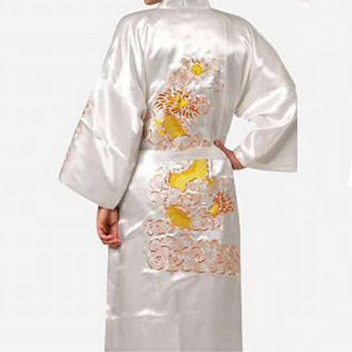 Большой размер 3XL халат для мужчин вышивка платье с драконами ночное белье мягкое атласное Lounge Ночная рубашка пижамы сексуальное свободное повседневное кимоно платье - Цвет: White Robe