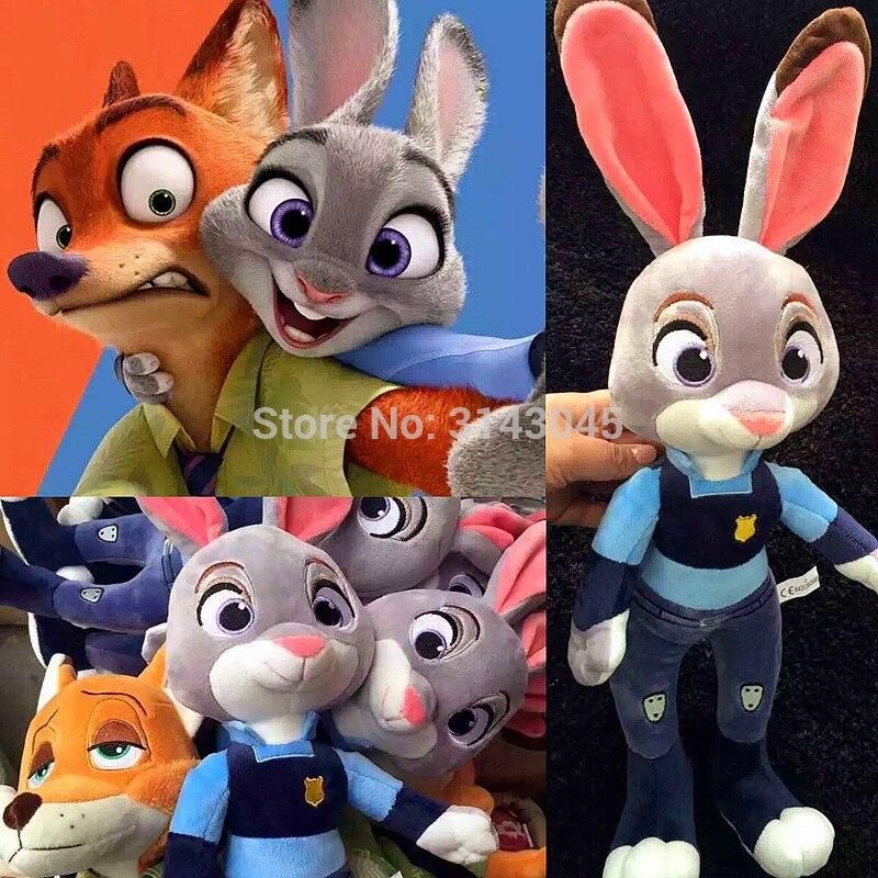 High Quality 22-28cm Zootopia Embroidery Police Rabbit Judy Hopps Fox Nick Wilde Movie Cartoon Animals Games Stuffed Plush Toys