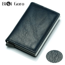 BISI GORO Rfid Wallets For Credit Card Men Wallets Money Bag Vintage Thin Short Purse Small PU Leather Slim Wallets Mini Wallets