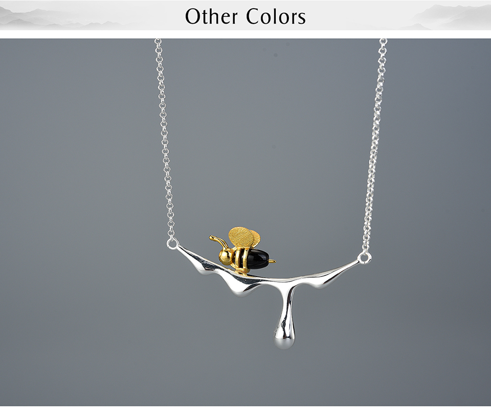 Silver Bee and Honey Necklace