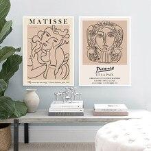 Картина с абстрактными изображениями Анри Матисса, Женская картина с линией лица, картина Пикассо, художественный постер на холсте, галерея...