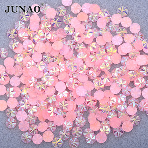 JUNAO 500pcs 5mm Pink AB Snowflake Rhinestones Small Facet Crystal Stones Resin Strass Nail Art Decoration for Scrapbook Crafts