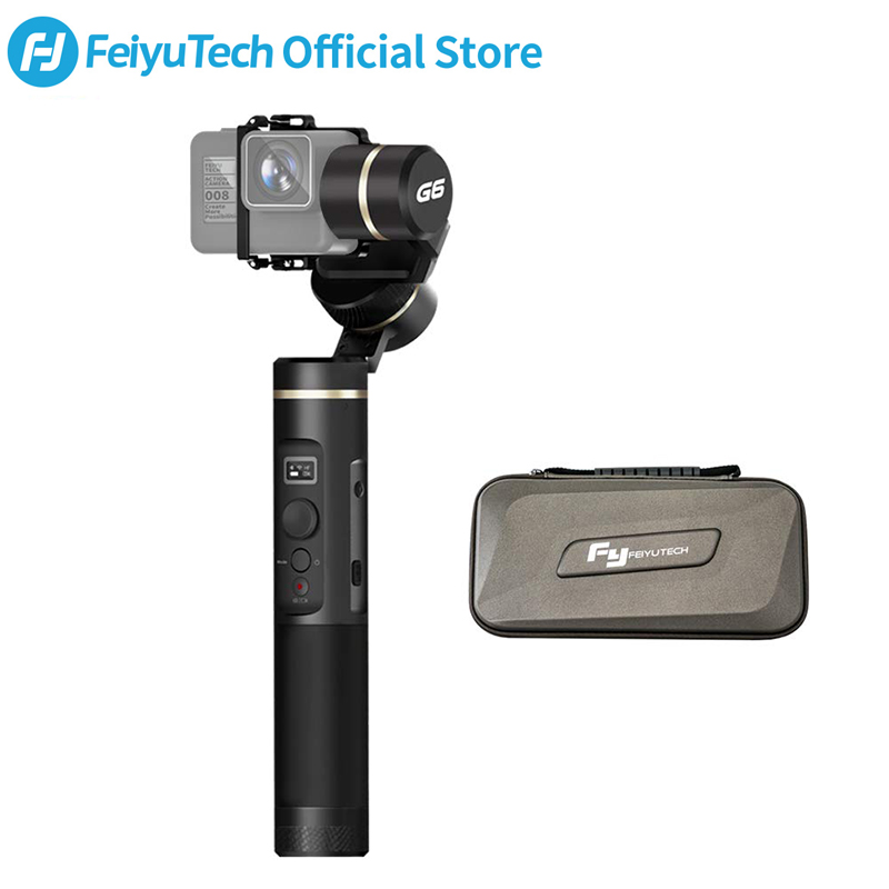 Feiyutech g6 handheld cardan estabilizador splashproof wifi bluetooth oled tela para gopro hero 7 6 5 sony rx0 yi