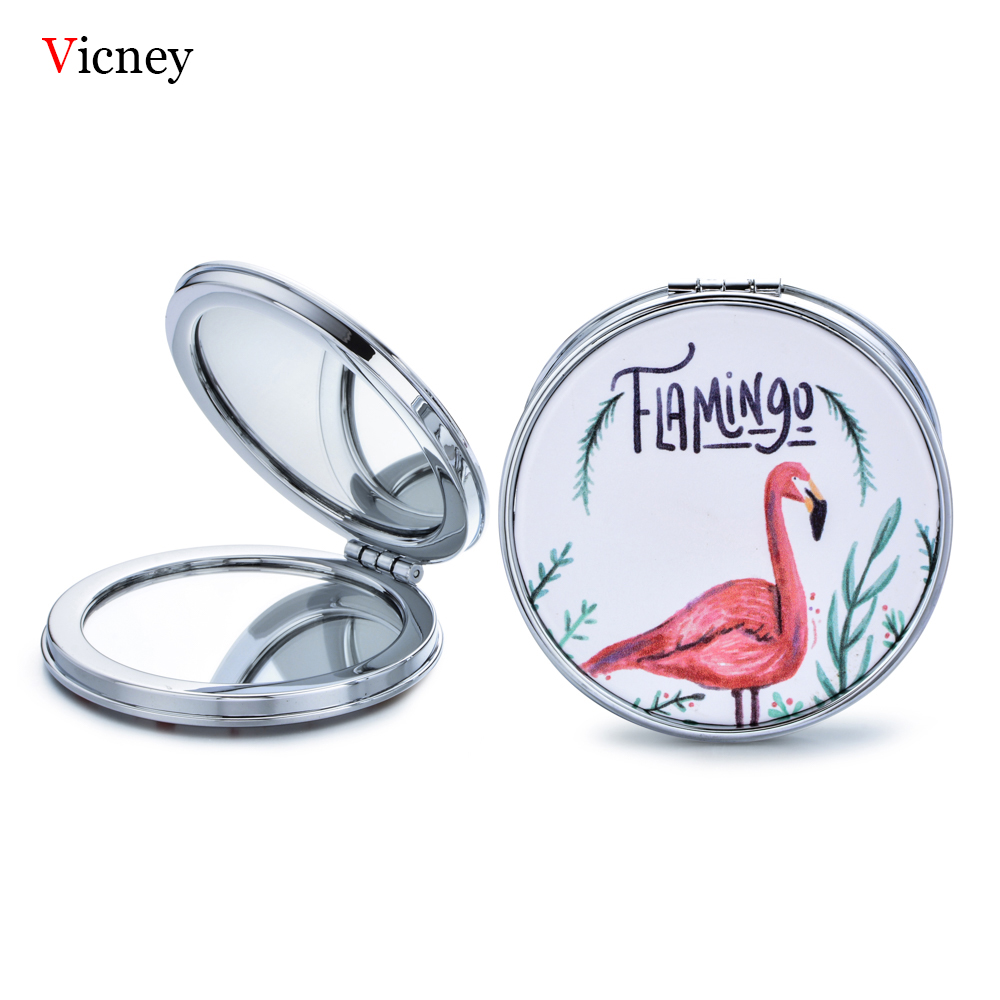 Vicney New Trend Mini Pocket Cosmetic Mirror Fashion Round Flamingos Makeup Mirrors Compact Beauty Double sided Mirror Magnifier in Makeup Mirrors from Beauty Health