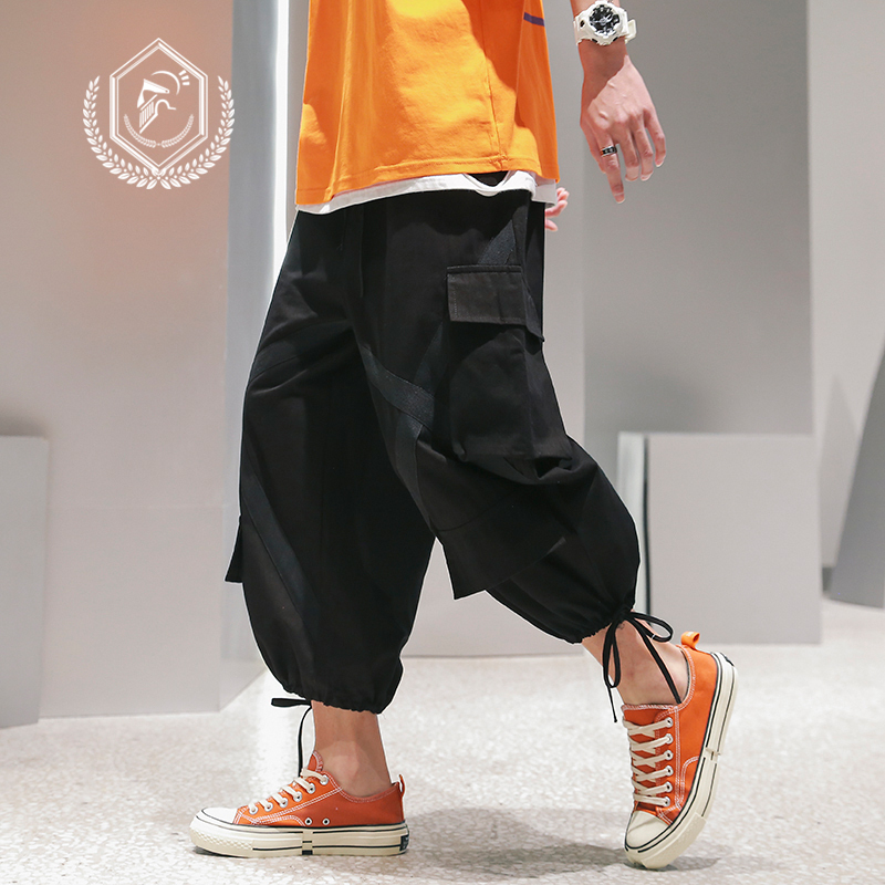 Men Loose Wide Leg Safari Style Pants Fashion Cargo Harem Jogget Pants Ankle-Length Hip Hop Pants