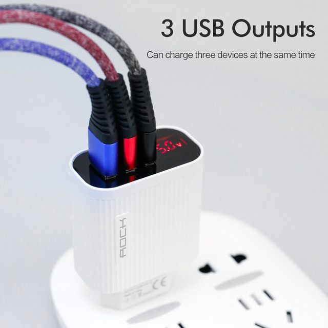 Rock digital display phone charger 3 port usb 3a max smart fast charger travel wall charger adapter for iphone samsung xiaomi