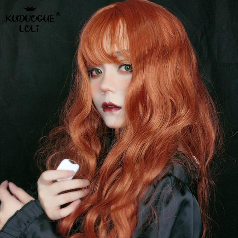 Wig Female Long Curly Hair Gothic Orange Big Wave Lolita Bob Bangs 68cm Anime Party Cosplay Wigs Heat Resistant Synthetic Hair