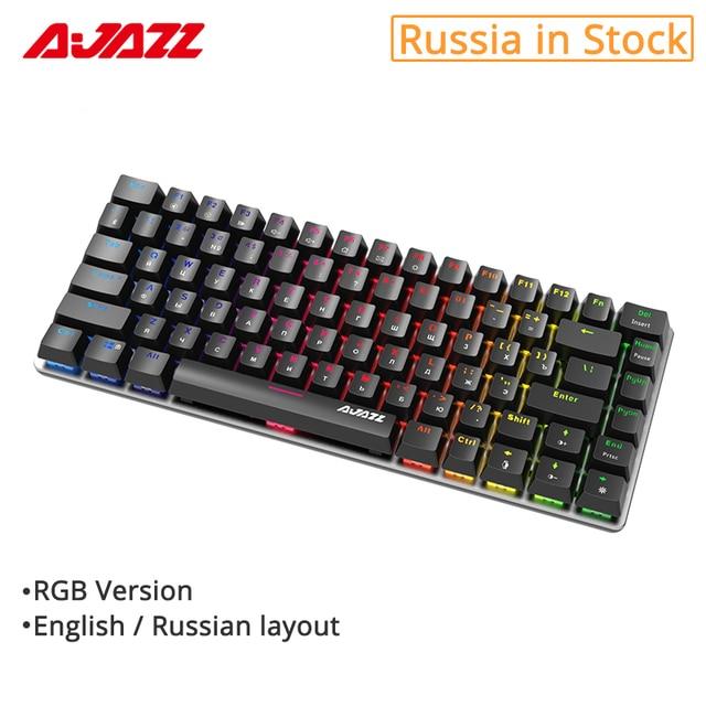 Ajazz AK33 82 Toetsen Mechanische Toetsenbord Russisch/Engels Layout Gaming Toetsenbord Rgb Backlight Blauw/Zwarte Schakelaar Bedraad Toetsenbord