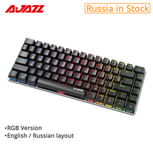 Ajazz AK33 82 keys mechanical keyboard Russian / English layout gaming keyboard RGB backlight blue / black switch wired keyboard