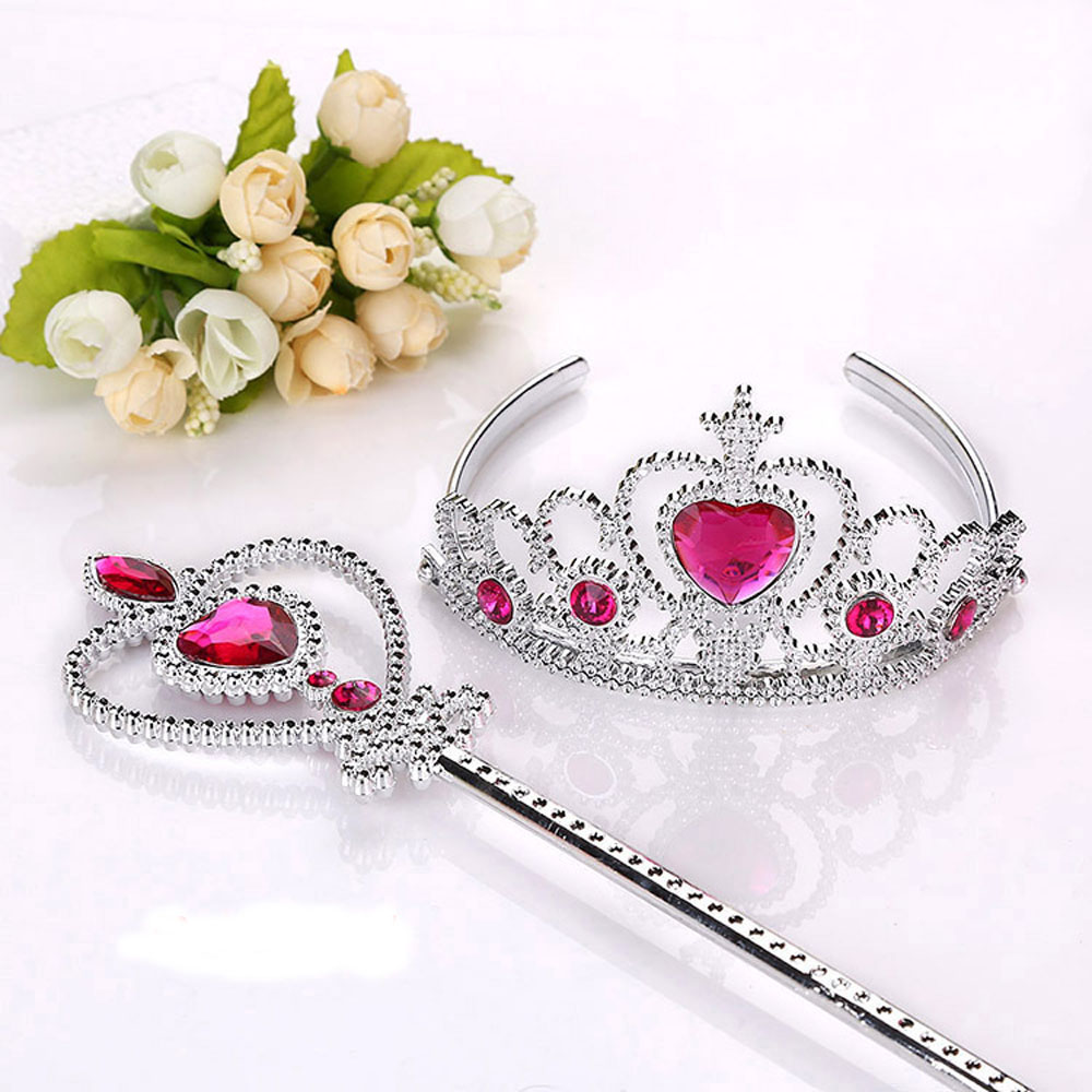 2Pcs/Set Princess Tiara Accessories Children Jewelry Crowns Magic Wands Girl Christmas Party Gifts Festival Girls