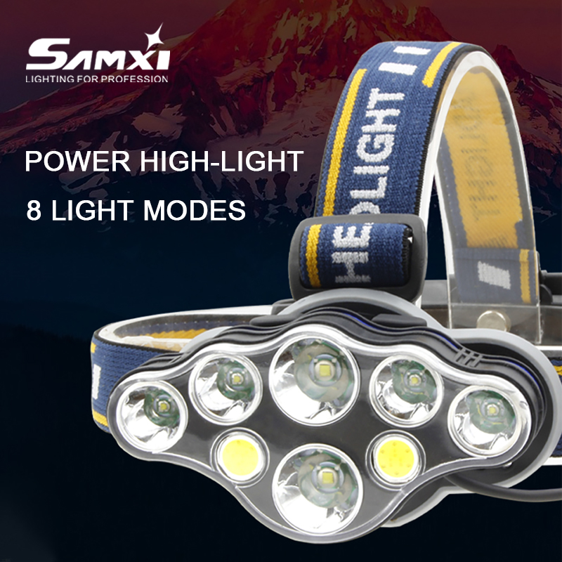 New 5/6/7/8 Lamp Holder Power Lights Headlamp Rechargeable LED Headlights For Hunting Fishing Waterproof Head Lamp Head Torch