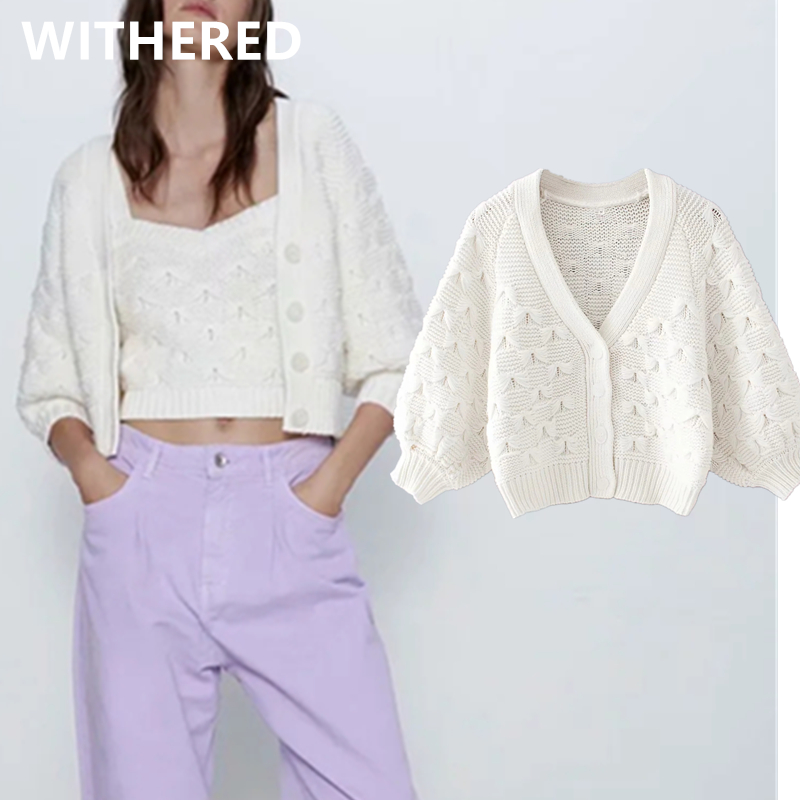 Withered 2020 ins fashion blogger vintage short embroidery bow ingle breasted short knitted cardigans jacket sweaters women tops