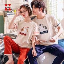 Милая пара пижамы женщин пижамы комплект О-образным вырезом плюс размер домашний костюм службе женщин мультфильм с коротким рукавом пижамы пижамы 2шт