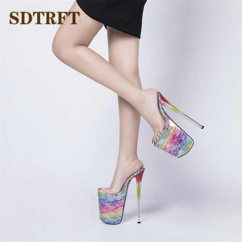 SDTRFT pompaları artı: 34-46 47 kadın ayakkabı bayan terlik şeffaf PVC zapatos mujer platformu Crossdresser 22cm ince topuklu sandalet