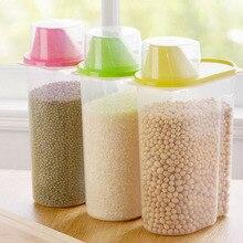 2.5L Plastic Food Storage Box Kitchen Food Grain Bean Rice Container Storage Box Cereal Dispenser Kitchen Tool