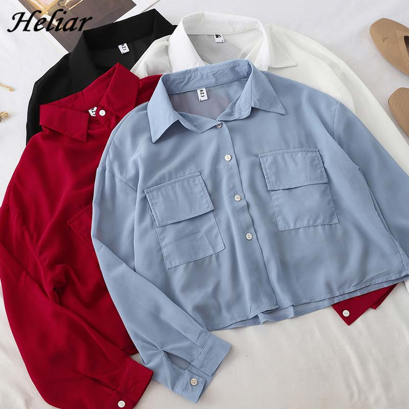 HELIAR 2019 Autumn OL Blouse Cargo Pocket Blouse Women Blouse Fashion Full Sleeve Female Turndown Collar Buttoned Up Shirt