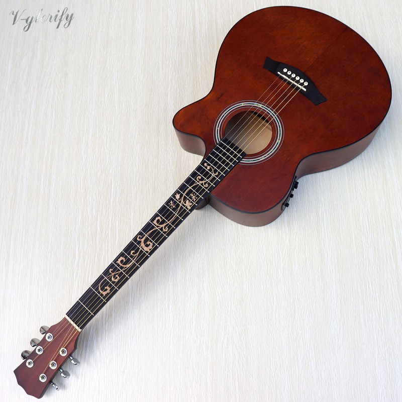 40 Inch Vintage Acoustic Electric Guitar 6 String Cutway Design Folk Gutiar 21 Frets Flower Inlay Fretboard  Acoustic Guitarra