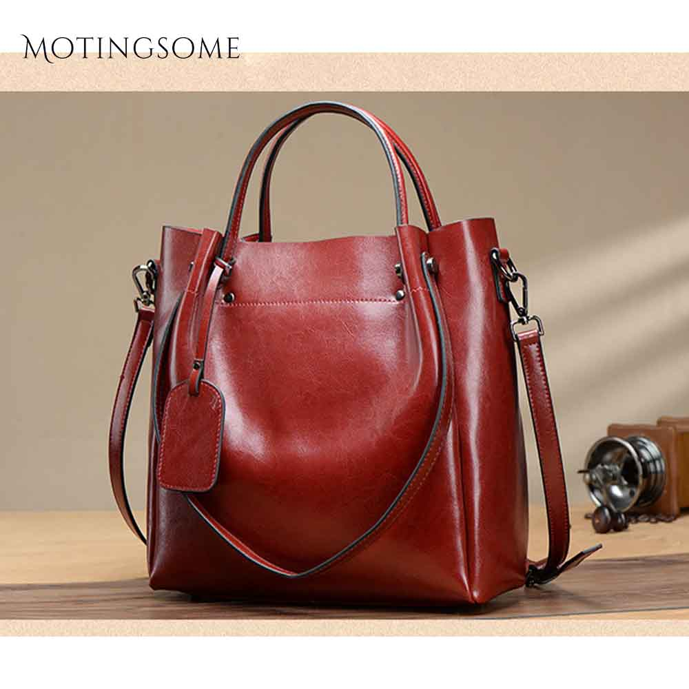 Natural Leather Large Women Genuine Leather Oil Wax Cow Leather Tote Bag Cowhide Shoulder Shopper Bags Luxury Hand Bag 2020 New