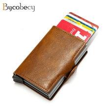 Bycobecy carteira 2020 de couro de alumínio, carteira com bloqueio rfid, porta-cartões duplo, caixa de metal, cartões de visita