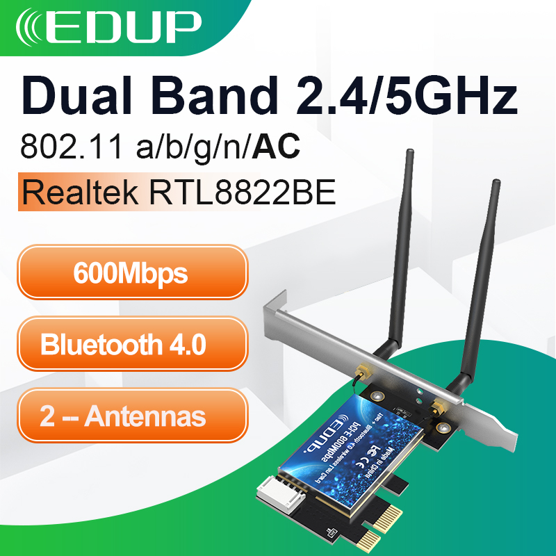 EDUP Dual Band 600Mbps PCIE WiFi Adapter Desktop 2 4G 5Ghz Bluetooth 4 0 Wireless AC WIFI Network Card Adapter With 2 Antennas